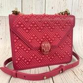 BRAND楓月 BVLGARI 寶格麗 粉色 皮革 鉚釘 聯名 蛇頭包 肩背包 鍊包 側背包