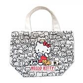 小禮堂 Hello Kitty 帆布手提袋 船形手提袋 便當袋 帆布袋 (黑 貓咪) 4991567-26489