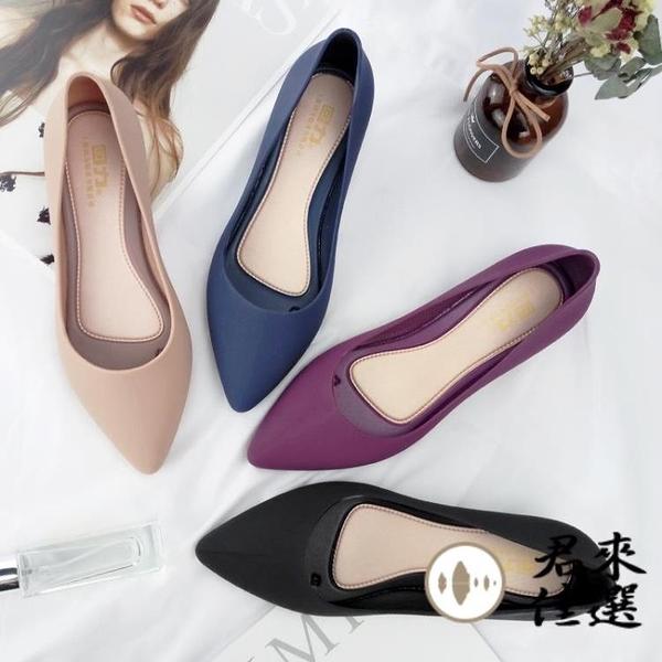 尖頭雨鞋時尚水鞋雨靴防水防滑膠鞋淺口女雨鞋【君來佳選】