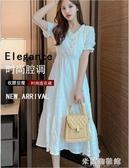 流行洋裝 2020夏新款流行女神范裙子桔梗法式復古氣質仙女小香風白色洋裝 米蘭潮鞋館