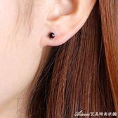999純銀耳釘女 黑色小巧迷你耳骨釘 韓國韓版簡約個性養耳洞耳丁艾美時尚衣櫥