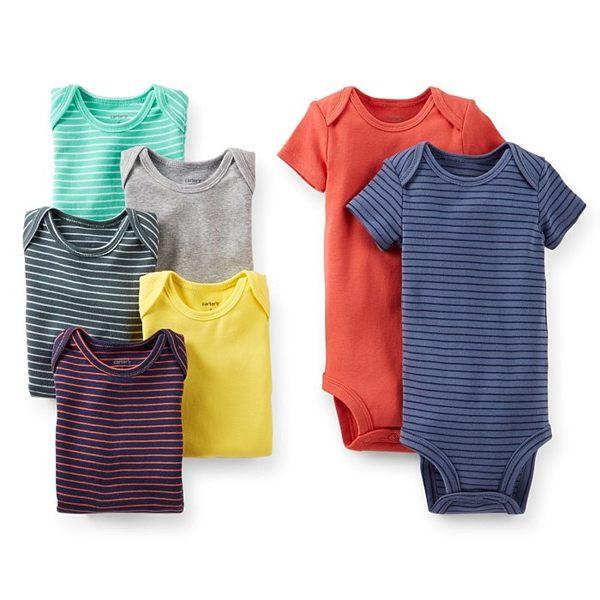【美國Carter's】短袖純棉包屁衣七件組 - 彩色條紋/素面系列 111A311