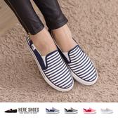 [Here Shoes] 校園學生族 輕便百搭款 線條 海軍風 休閒鞋 懶人鞋 帆布鞋 4色─AA035