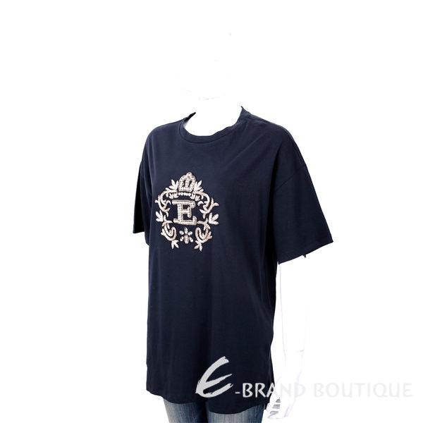 ERMANNO SCERVINO 金色繡線鑽花皇冠圖騰深藍純棉T恤 1740202-34