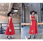 連衣裙女夏2018新款時尚氣質女裝露背蝴蝶結系帶收腰顯瘦度假長裙