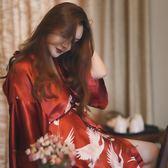 晨袍新娘睡衣仙鶴夏季冰絲睡袍女薄款性感日式和服浴袍紡真絲春秋  ifashion部落
