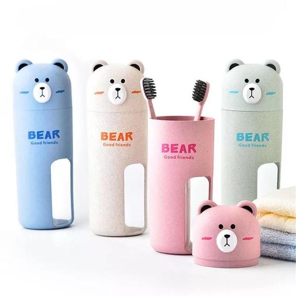 【大熊旅行套裝】附2隻可愛牙刷 韓系小麥秸稈 出差居家 牙刷牙膏 杯 組合 小熊洗漱套裝