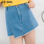 中大尺碼  不規則磨毛牛仔短褲裙 - 適XL~4L《 64968GH 》CC-GIRL