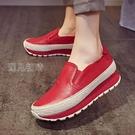 搖搖鞋歐洲站春新款搖搖鞋厚底女鞋軟皮紅色內增高休閒鞋潮瓢鞋孕婦 快速出貨