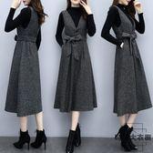 大碼女裝兩件套裝版高領毛衣 背帶裙顯瘦【時尚大衣櫥】