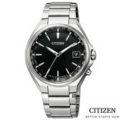 CITIZEN星辰 光動能電波錶 鈦金屬手錶 CB1120-50E 黑/38mm