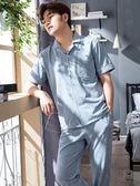 睡衣男短袖長褲棉秋冬青年薄款家居服夏天中年加肥大碼全棉套裝