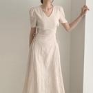 韓國chic氣質法式花紋V領修身顯瘦收腰側邊綁帶中長款短袖洋裝 黛尼時尚精品
