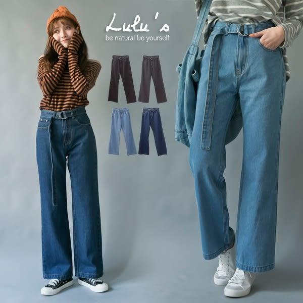 LULUS-P自訂款鐵圈綁帶牛仔寬褲-附綁帶25-294色  現+預【04011047】