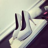 裸色防水台高跟鞋細跟尖頭女性感超黑色夜店10CM12CM紅色婚鞋職業 衣櫥秘密