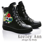 ★零碼出清★Keeley Ann時尚指標繡花混搭綁帶運動風真皮短靴(黑色) -Ann系列