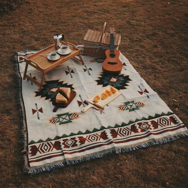ins民族風春游野餐墊野餐布用品全套網紅草坪地墊子戶外波西米亞 黛尼時尚精品
