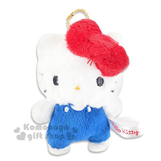 〔小禮堂〕Hello Kitty 絨毛娃娃吊飾《S.藍吊帶褲》 4930972-42525