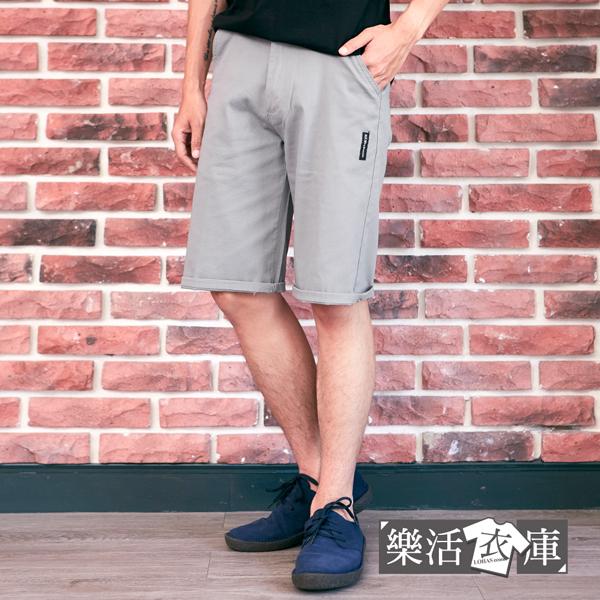 【7509-7510】日系布標伸縮休閒短褲 彈力 舒適(共二色)● 樂活衣庫