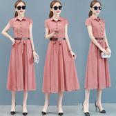 洋裝-雪紡連身裙女新款流行夏天裙子夏季遮肚子中長款高端氣質長裙 Korea時尚記