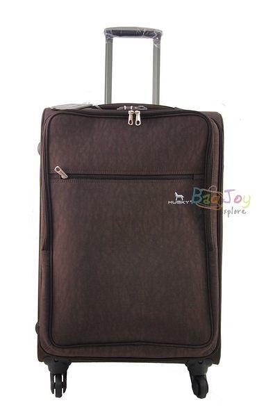 YUE HUSKY 超輕量皺皺布24吋行李箱(YU-7024咖啡)