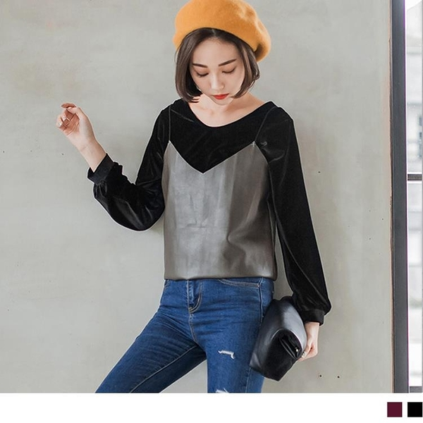 《AB1870》素色絨布質感縮口袖設計圓領寬鬆上衣.2色 OrangeBear