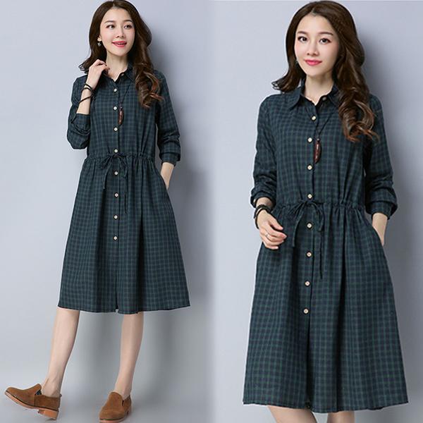 【名模衣櫃】時尚格紋顯瘦連衣裙-墨綠-(M-2XL可選)  51544