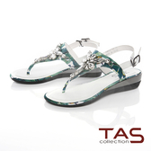 TAS進口花布拼接水鑽夾腳金屬小坡跟涼鞋-草墨綠