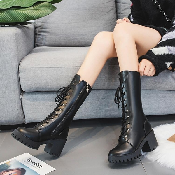 中筒靴 女2021新款秋冬粗跟高跟中筒靴英倫百搭瘦腳馬丁靴直筒機車靴 8號店