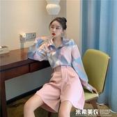 朵拉潮人館港味復古chic網紅油畫印花上衣秋季新款寬鬆長袖襯衣女 米希美衣