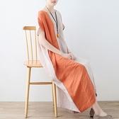 洋裝-長款寬版文藝優雅亞麻拼色女連身裙73sm41【巴黎精品】