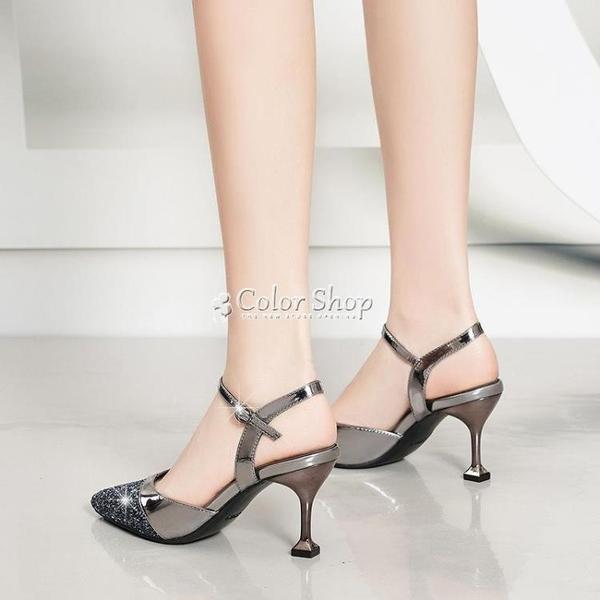 意尓㝩仙女包頭涼鞋女夏2021新款尖頭高跟鞋女細跟中跟女鞋子 快速出貨