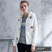 【JEEP】女裝 星星貼布刷毛帽TEE外套 (白色)
