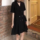 連身裙大碼女裝眾復古裙西裝【聚物優品】
