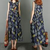 中大尺碼 無袖洋裝 文藝2021夏裝新款大碼女裝寬鬆顯瘦v領印花無袖中長款連身裙胖mm