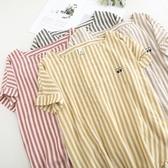短袖T恤-條紋清新可愛小眼睛刺繡女上衣4色73sy5【巴黎精品】