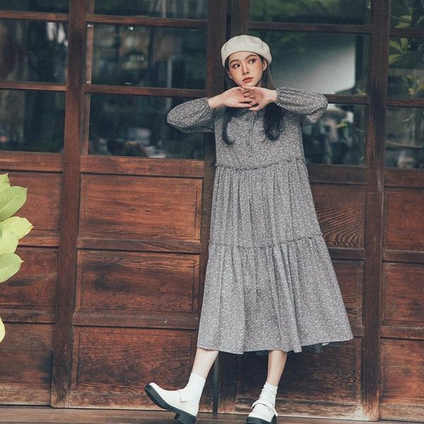 Queen Shop【01085084】蝴蝶結綁帶領碎花雪紡洋裝 三色售*現+預*