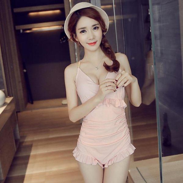 韓國溫泉泳衣女連體保守遮肚平角女士鋼托聚攏小胸大胸泳裝