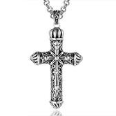 《QBOX 》FASHION 飾品【CSP465】精緻個性復古皇冠十字架魔法圖騰鑄造鈦鋼墬子項鍊/掛飾