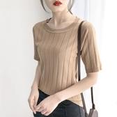 春裝女2020新款潮冰絲T恤薄款短袖五分袖針織上衣寬鬆中袖打底衫