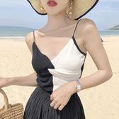 夏季V領性感拼色吊帶打底衫外穿針織無袖小揹心修身短款上衣女裝   9號潮人館