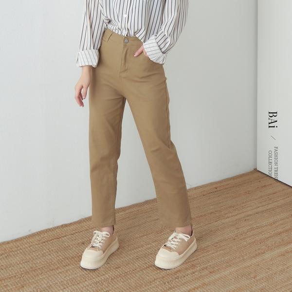 高腰彈性斜紋小直筒褲M-L號-BAi白媽媽【310783】