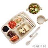 小麥秸稈餐盤叉勺套裝幼兒園餐盤分格卡通輔食碗防摔餐具 雙12全館免運