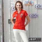 【JEEP】女裝 素面貼布吸濕排汗POLO衫-橘紅色