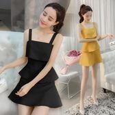 夏季新款韓版女裝修身吊帶背心裙 荷葉邊夏短裙子 LR2154【歐爸生活館】
