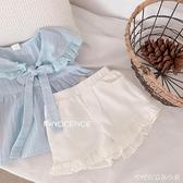 女童2021夏季款套裝繫帶飛袖娃娃衫短褲套裝小清新配色超美 快速出貨