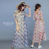 PUFII-洋裝 雙V後綁帶花洋裝-0605 現+預 夏【CP16842】