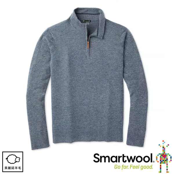 【SmartWool 美國 男 Sparwood半開襟毛衣《霧藍/泥灰》】SW000299/保暖上衣/休閒衫