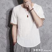 七分袖T恤 中國風復古亞麻上衣夏季潮七分袖V領棉麻t恤加肥寬鬆大碼短袖男 瑪麗蓮安