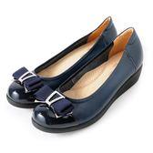 Clay Derman 輕柔甜美織帶蝴蝶結楔型底娃娃鞋  -藍